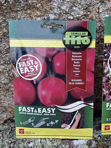 Semilla de rabanito en disco, cinta sembradoras, rápido y fácil, marca Fitó.